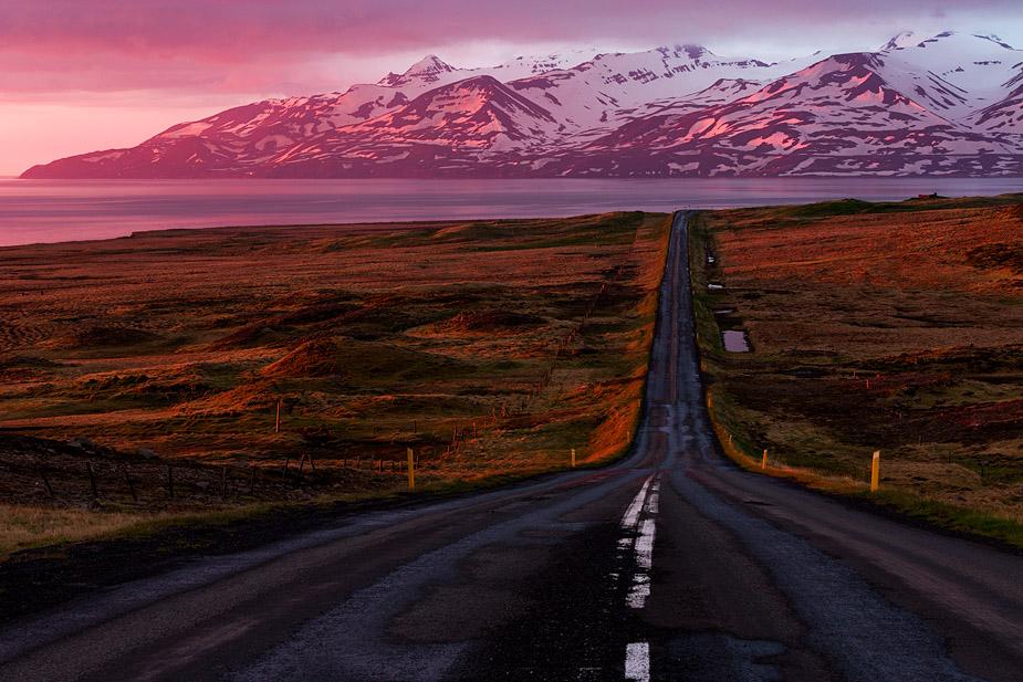 Mountains of Siglufjörður in midnight sun